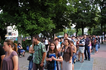 A long tail curled to the Regional Archaeological Museum during the European Night in Plovdiv on 18 May 2014.